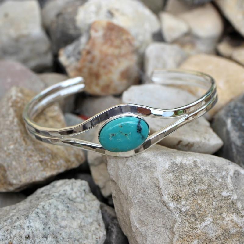 Bracelet argent turquoise Classica, bijoux de créateur, vente en ligne, bijou artisanal, bijouterie en ligne