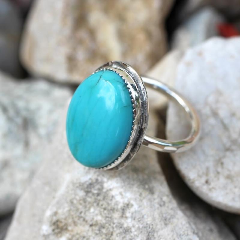 Bague argent Turquoise Rosaïa, bijoux de créateur, vente en ligne, bijouterie
